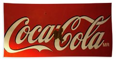 Beach Towel featuring the photograph Coca-cola Sign  by Toni Hopper