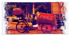 Beach Towel featuring the photograph Coca Cola Tricycle Bin - Lima by Mary Machare