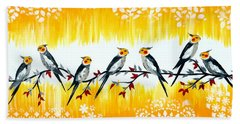 Cockatiels Beach Towel by Cathy Jacobs