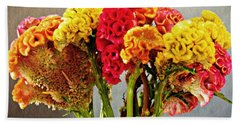 Beach Towel featuring the photograph Cockscomb Bouquet 3 by Sarah Loft
