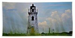 Cockspur Lighthouse Through The Grass Beach Sheet