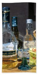 Beach Towel featuring the painting Cocktails And Mustard by Lynne Reichhart