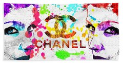 Coco Chanel Grunge Beach Towel by Daniel Janda