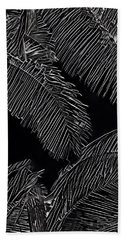 Coconut Palms In Black And White Beach Towel