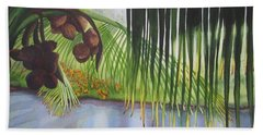 Beach Sheet featuring the painting Coconut Tree by Teresa Beyer