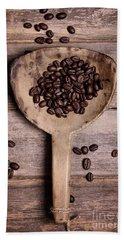 Coffee Beans In Antique Scoop. Beach Sheet