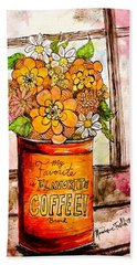 Beach Towel featuring the painting Coffee Can Bouquet  by Monique Faella