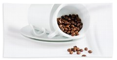 Coffee Cups And Coffee Beans  Beach Towel
