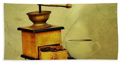 Coffee Mill And Cup Of Hot Black Coffee Beach Sheet