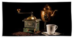 Beach Towel featuring the photograph Coffee-time by Torbjorn Swenelius