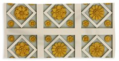 Coffered Ceiling Detail At Getty Villa Beach Towel