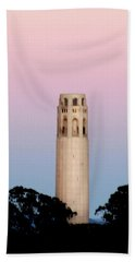 Coit Tower At Sunset Beach Towel