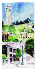 Coit Tower From The Embarcadero Beach Towel by Tom Simmons