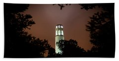 Coit Tower Through The Trees Beach Towel