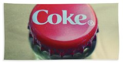 Beach Towel featuring the photograph Coke Bottle Cap Square by Terry DeLuco
