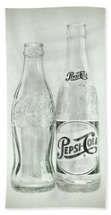 Coke Or Pepsi Black And White Beach Towel by Terry DeLuco