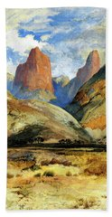 Beach Towel featuring the painting Colburns Butte South Utah by Thomas Moran