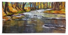 Cold Day At The Creek Beach Towel by Annamarie Sidella-Felts