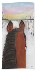 Beach Towel featuring the drawing Cold Ride by Arlene Crafton