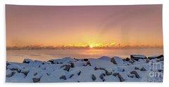 Cold Winter Sunrise Beach Towel