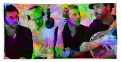 Coldplay Band Portrait Paint Splatters Pop Art Beach Towel by Design Turnpike