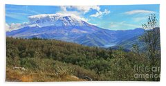 Coldwater Lake At Mt. St. Helens Panorama Beach Sheet by Ansel Price