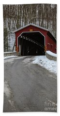 Colemansville Covered Bridge After Winter Snow Beach Sheet