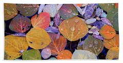 Collage Of Aspen Leaves At Mcgee Creek In The Eastern Sierras Beach Towel