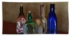 Collection Of Vintage Bottles Photograph Beach Sheet