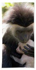Colobus Monkey And Child Beach Sheet
