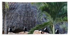 Colobus Monkey Resting On A Wall Beach Towel