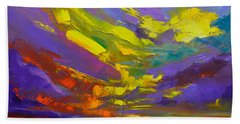 Coloful Sunset, Oil Painting, Modern Impressionist Art Beach Towel