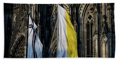 Cologne Cathedral Flags Beach Sheet
