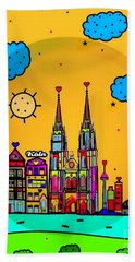 Beach Towel featuring the digital art Cologne Popart By Nico Bielow by Nico Bielow