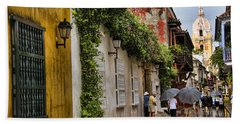 Colonial Buildings In Old Cartagena Colombia Beach Sheet