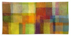 Beach Towel featuring the painting Color Collage With Green And Red 2.0 by Michelle Calkins