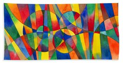 Color Shards Watercolor Beach Towel by Kristen Fox