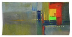 Beach Towel featuring the painting Color Window Abstract by Nancy Merkle
