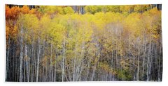 Beach Sheet featuring the photograph Colorado Aspen Trees Fall Foliage Woodland by Andrea Hazel Ihlefeld