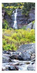 Beach Sheet featuring the photograph Colorado Bear Creek Falls Stream Landscape by Andrea Hazel Ihlefeld