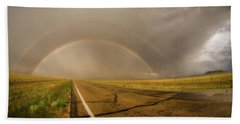 Beach Towel featuring the photograph Colorado Double Rainbow by Chris Bordeleau