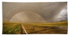 Beach Sheet featuring the photograph Colorado Double Rainbow by Chris Bordeleau