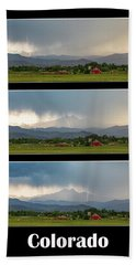 Beach Towel featuring the photograph Colorado Front Range Longs Peak Lightning And Rain Poster by James BO Insogna