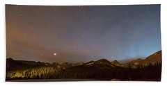 Beach Towel featuring the photograph Colorado Indian Peaks Stellar Night by James BO Insogna