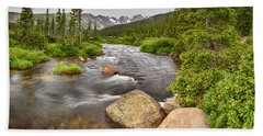 Colorado Indian Peaks Wilderness Creek Panorama Beach Towel