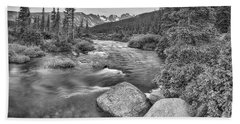 Colorado Indian Peaks Wilderness Panorama Bw Beach Towel