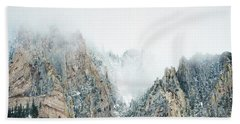 Beach Sheet featuring the photograph Colorado Mountain Fog Landscape by Andrea Hazel Ihlefeld