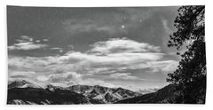 Beach Towel featuring the photograph Colorado Rocky Mountain Evening View In Black And White by James BO Insogna