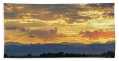 Beach Towel featuring the photograph Colorado Rocky Mountain Front Range Panorama Sunset by James BO Insogna