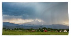 Beach Towel featuring the photograph Colorado Rocky Mountain Red Barn Country Storm by James BO Insogna